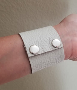 Off White Leather Cuff