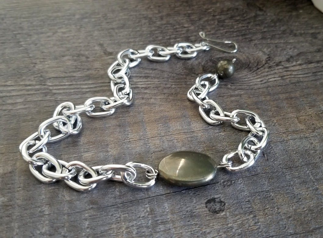 Pyrite Chain Bracelet Thick