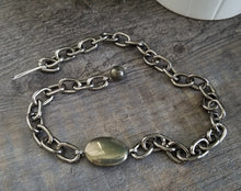 Load image into Gallery viewer, Pyrite Aluminum Chain Bracelet Thick