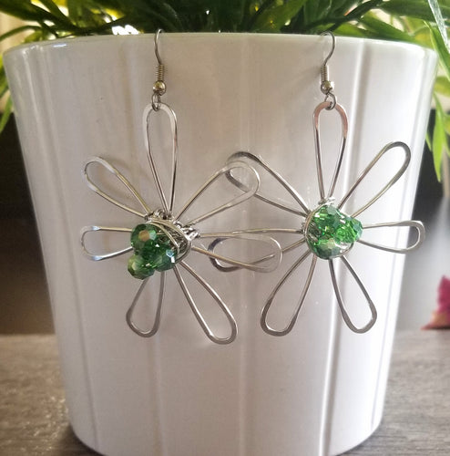 Big Green Flower Earrings