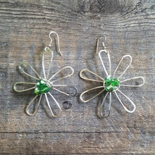 Load image into Gallery viewer, Big Green Flower Earrings