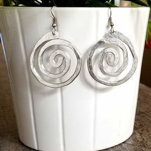 Thick Hammered Spiral Earrings