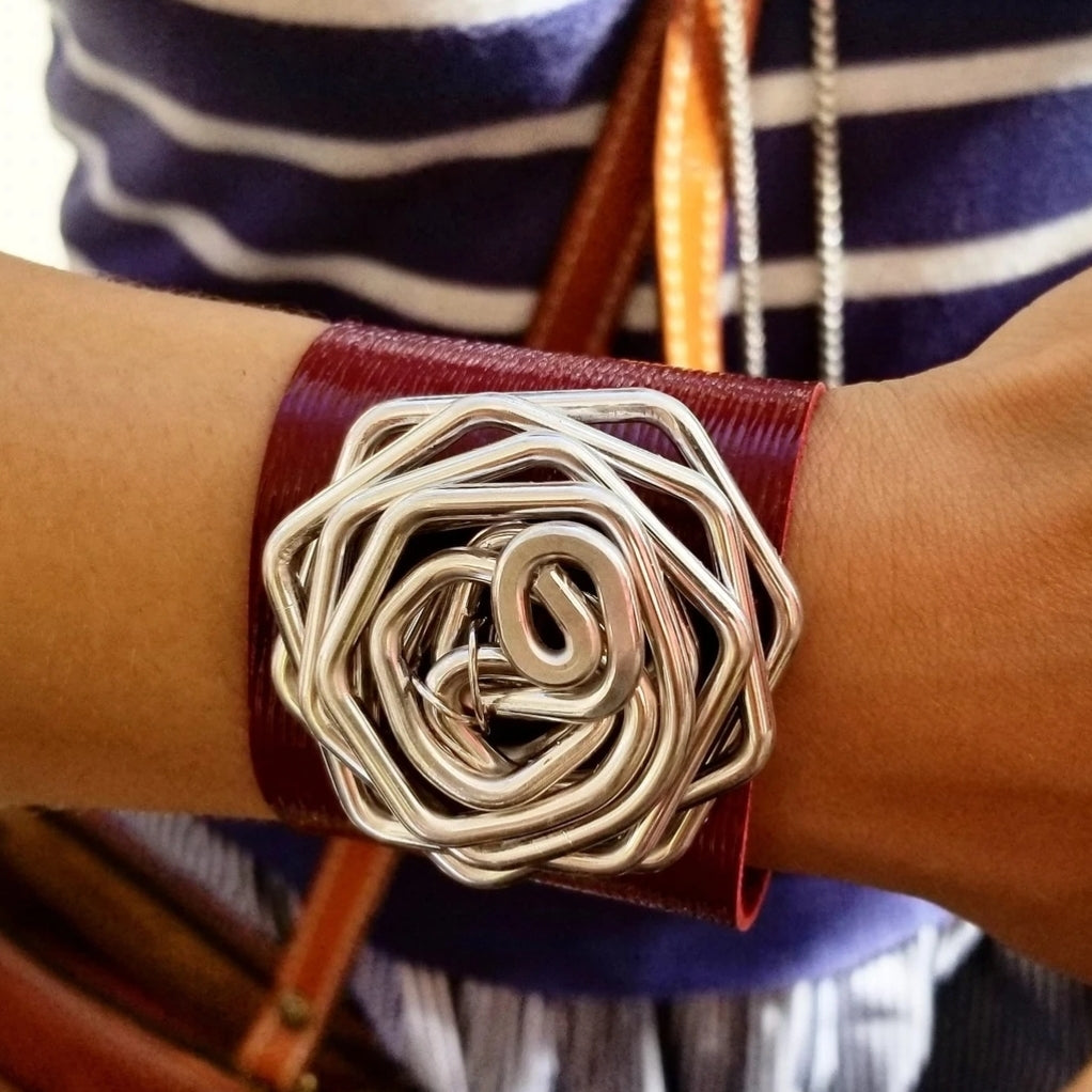 Crazy Leather Cuff • Red