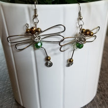 Load image into Gallery viewer, Dragonfly Earrings- Green