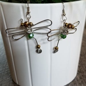 Dragonfly Earrings- Green