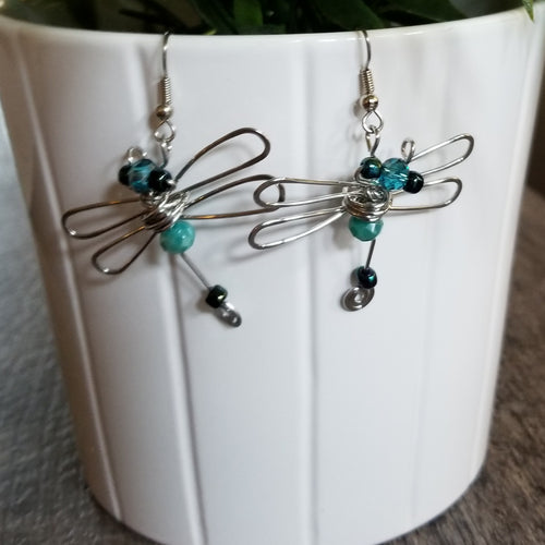 Dragonfly Earrings-Blue