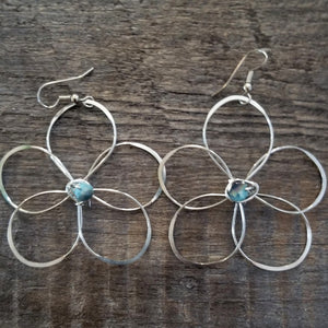 Big Thin Flower Earrings- multi -light blue