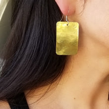 Load image into Gallery viewer, Brass Rectangle Earrings