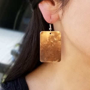 Copper Rectangle Earrings