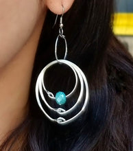 Load image into Gallery viewer, Turquoise Multiple Hoops Earrings
