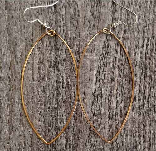 Long Bronze Hoop Earrings