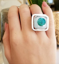 Load image into Gallery viewer, White & Turquoise Ring