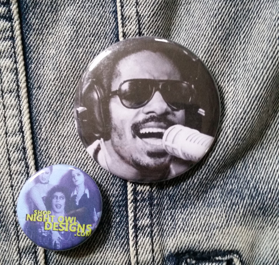 Stevie Wonder pin back button
