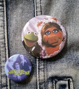 Kermit and Piggy -Wedding  pin back button