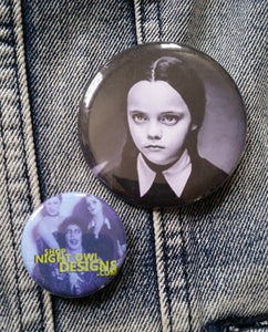 Wednesday Addams pin back button