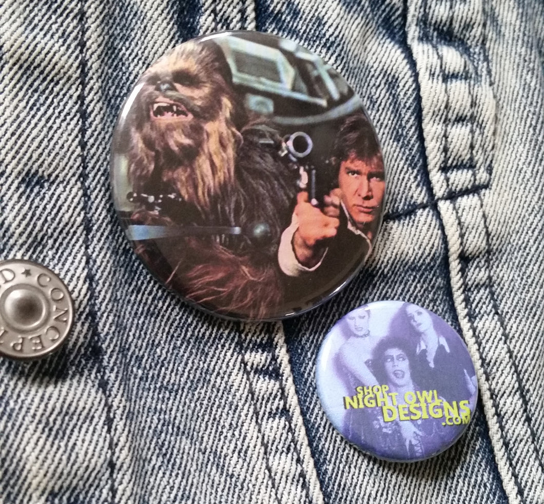 Han and Chewy pin back button