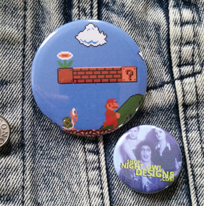 Super Mario Brothers pin back button