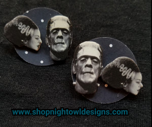 Bride and Frankenstein Post Earrings