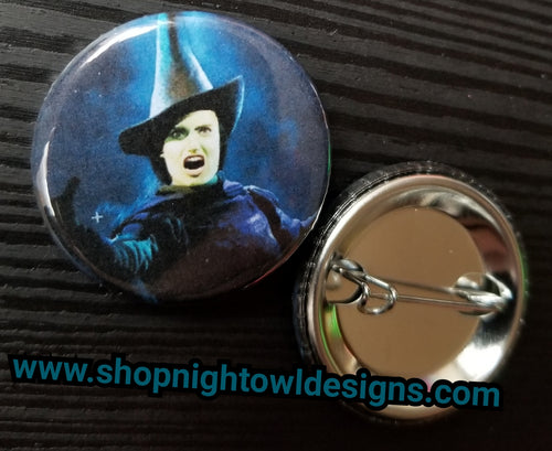 Elphaba- Wicked pin back button