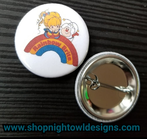 rainbow brite pin back button