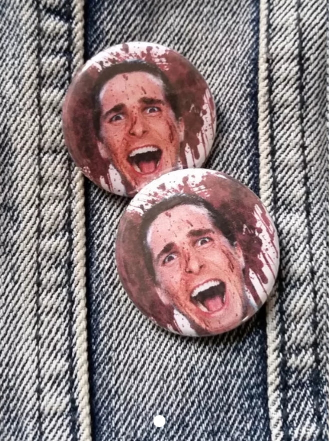 American Psycho pin back button