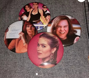 Don't Tell Mom The Babysitter's Dead pin back buttons