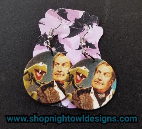 Vincent Price and Kermit the Frog disc Earrings