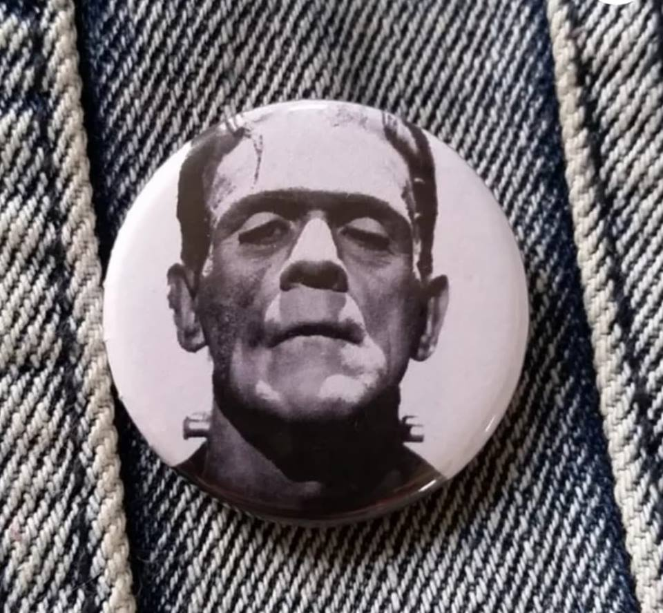 Frankenstein pin back button