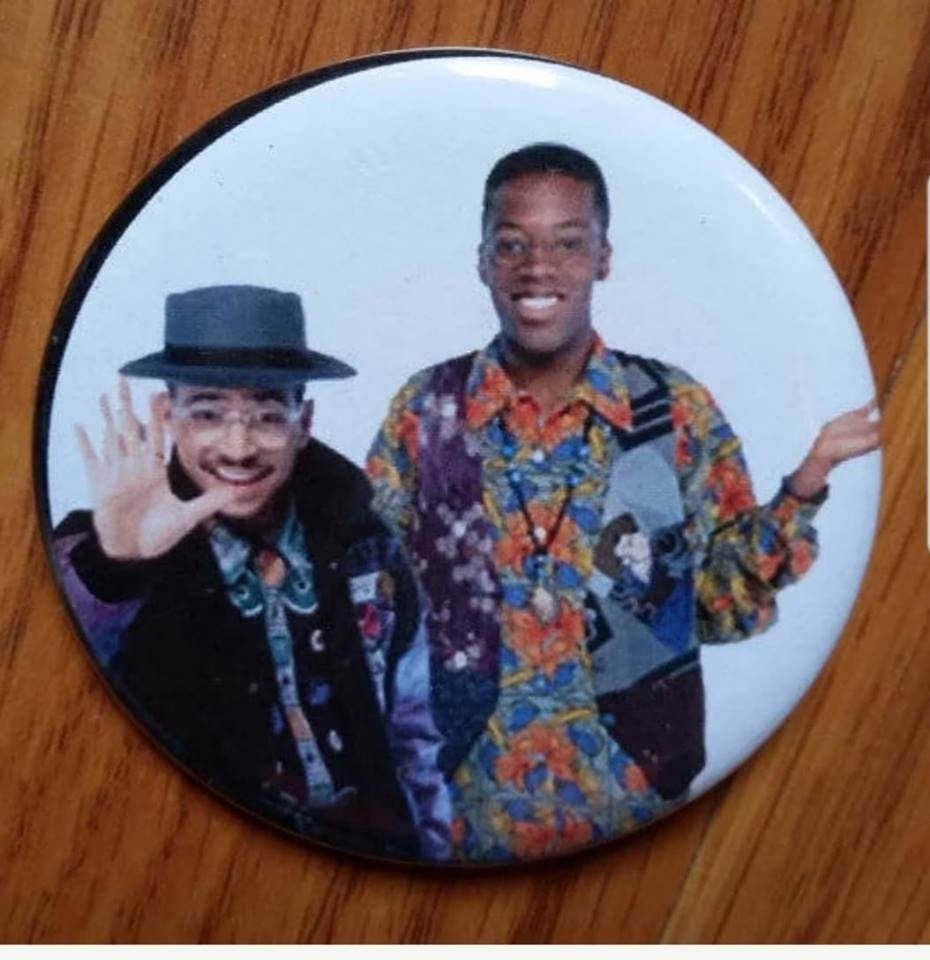 Ron and Dwayne A Different World cast pin back button