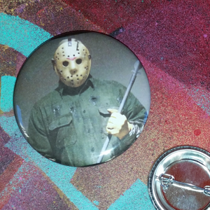 Jason Voorhees pin back button