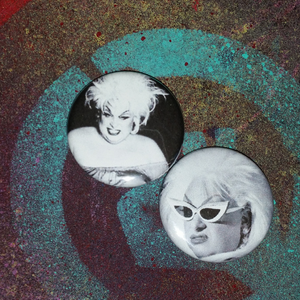 Divine- Black and White pin back buttons