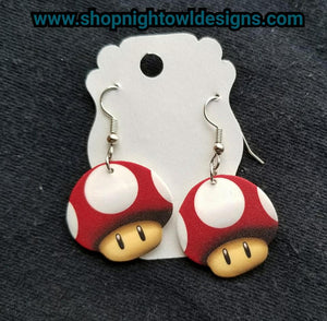 Nintendo Red Mushroom Earrings