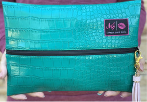 Turquoise Gator by Makeup Junkie Bags