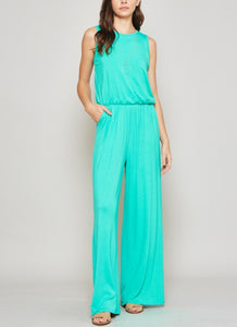 Light Turquoise Sleeveless Jumpsuit