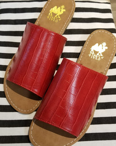 Sahara Red Croc Slide