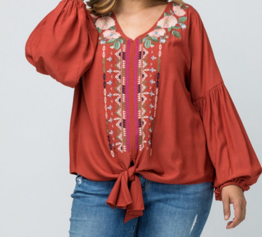 Embroidered Blouse Plus