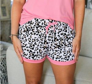 Leopard Sleep Shorts  Pink/Black