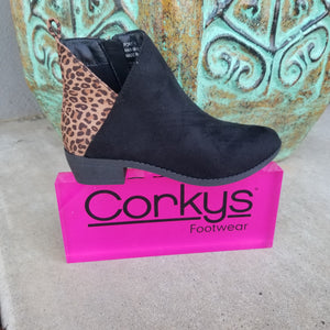 Corkys YOUTH Boot Port Black/Leopard