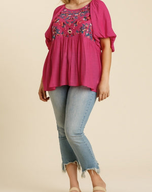 Embroidered Blouse Hot Pink-Plus