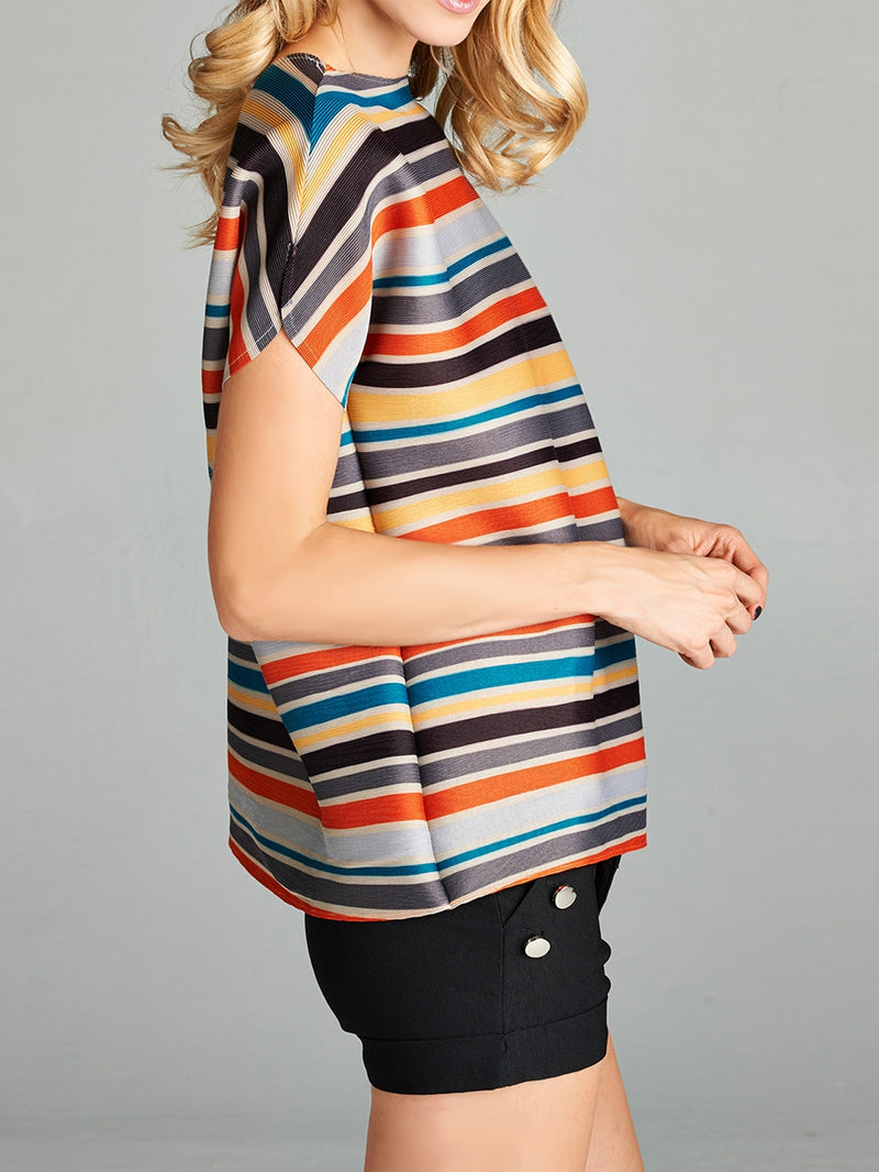 Pleated Multi Liam Top with Short Sleeve 6001