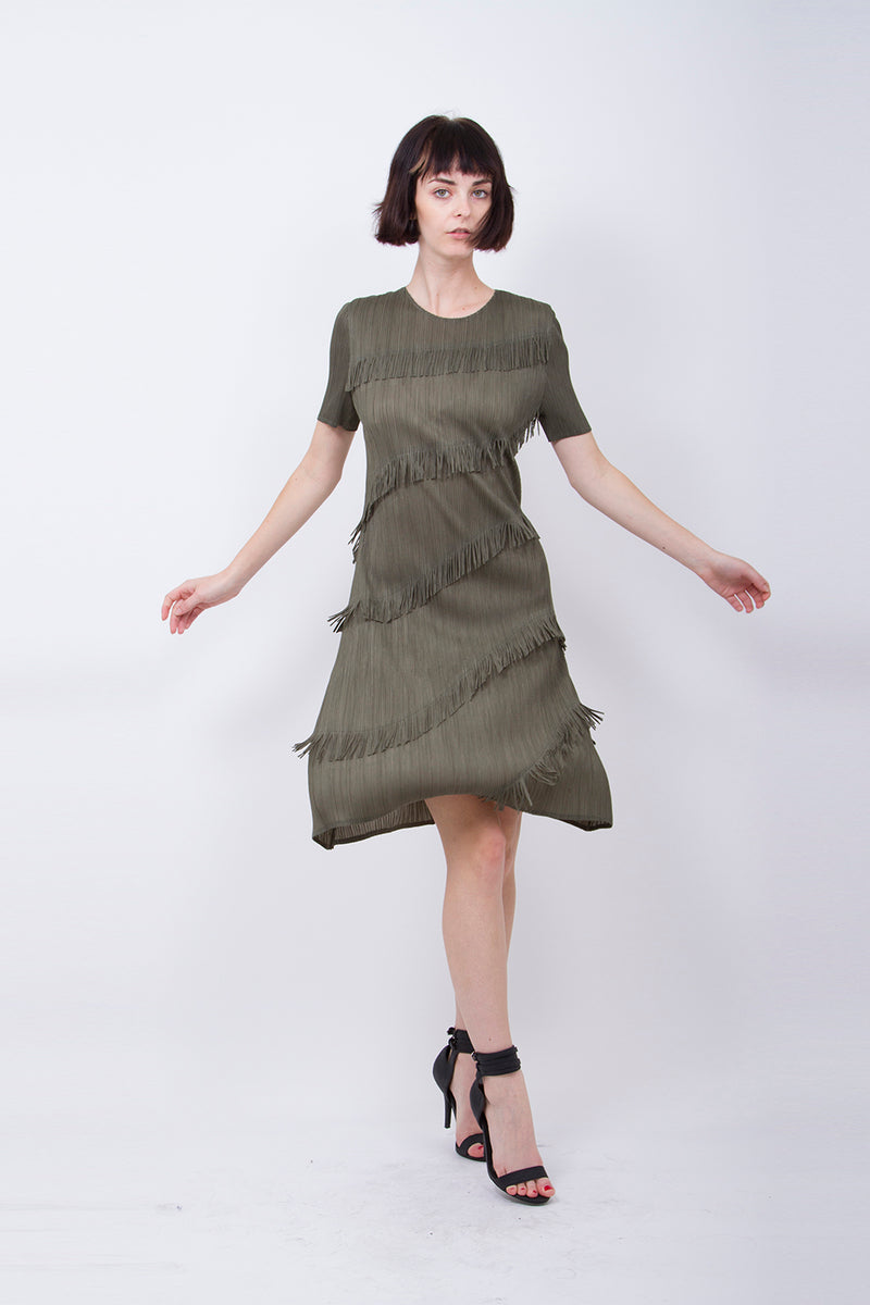 Pleated Olive Fringe  Dress 10097