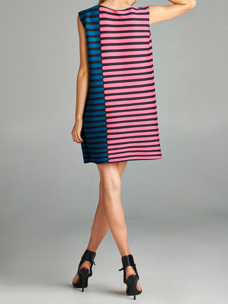 Pleated Pink Line Strip Dress 87185