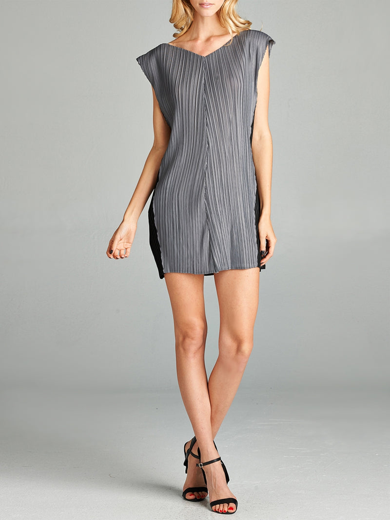 Pleated Grey Tara Mini Dress 6043
