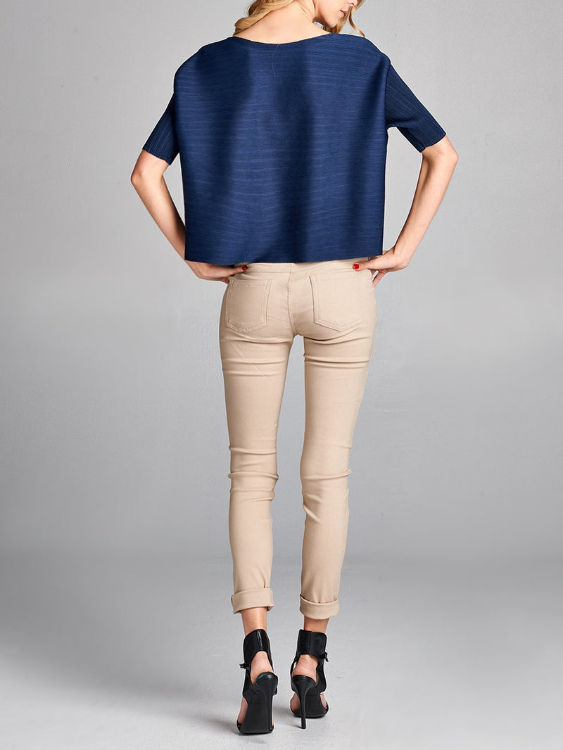 Pleated  Navy Half Sleeve Top 9900