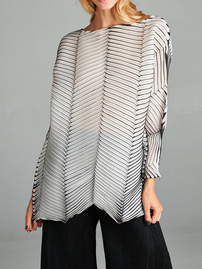 Pleated White Black Eureka  Top 81275