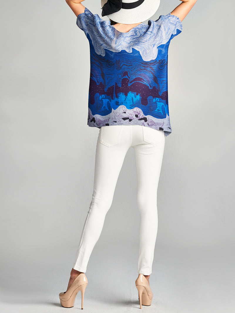 Waive Print Pleated Top Blue 10543
