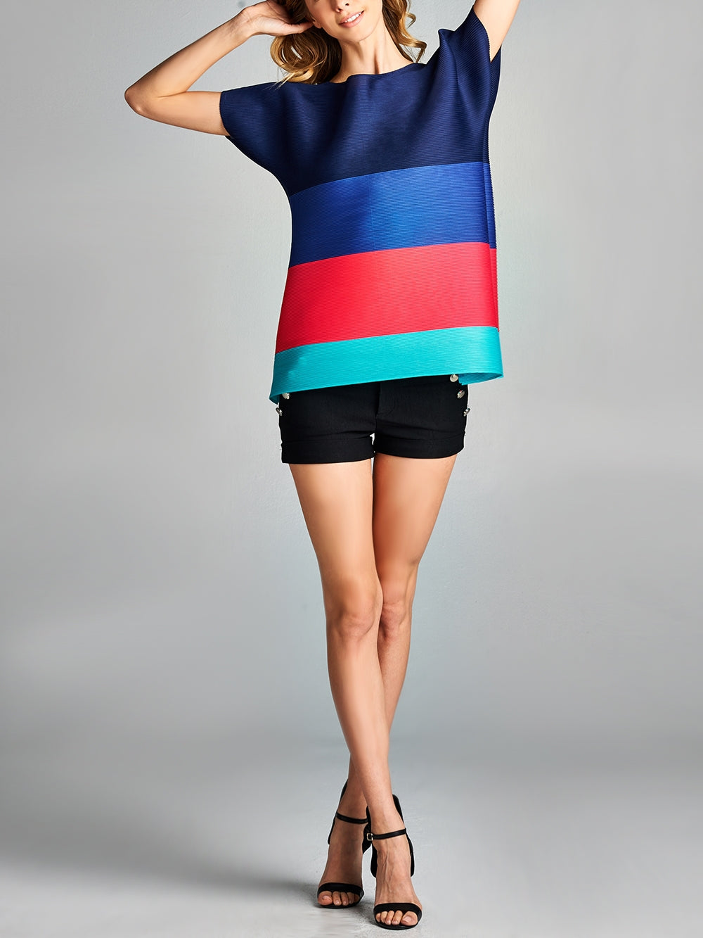 Pleated Navy Podo Color Block  Top ZS123