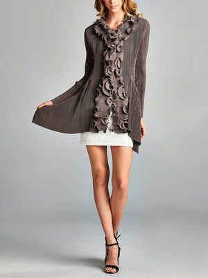 Pleated Brown  Ruffle Collar Front-Hooked Cardigan 10280
