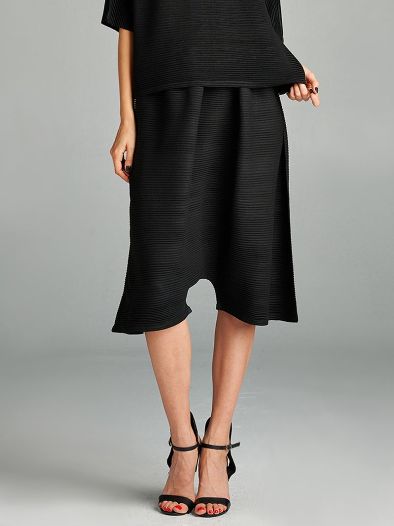 Pleated Black Olivia Knit  Pants HT-8125
