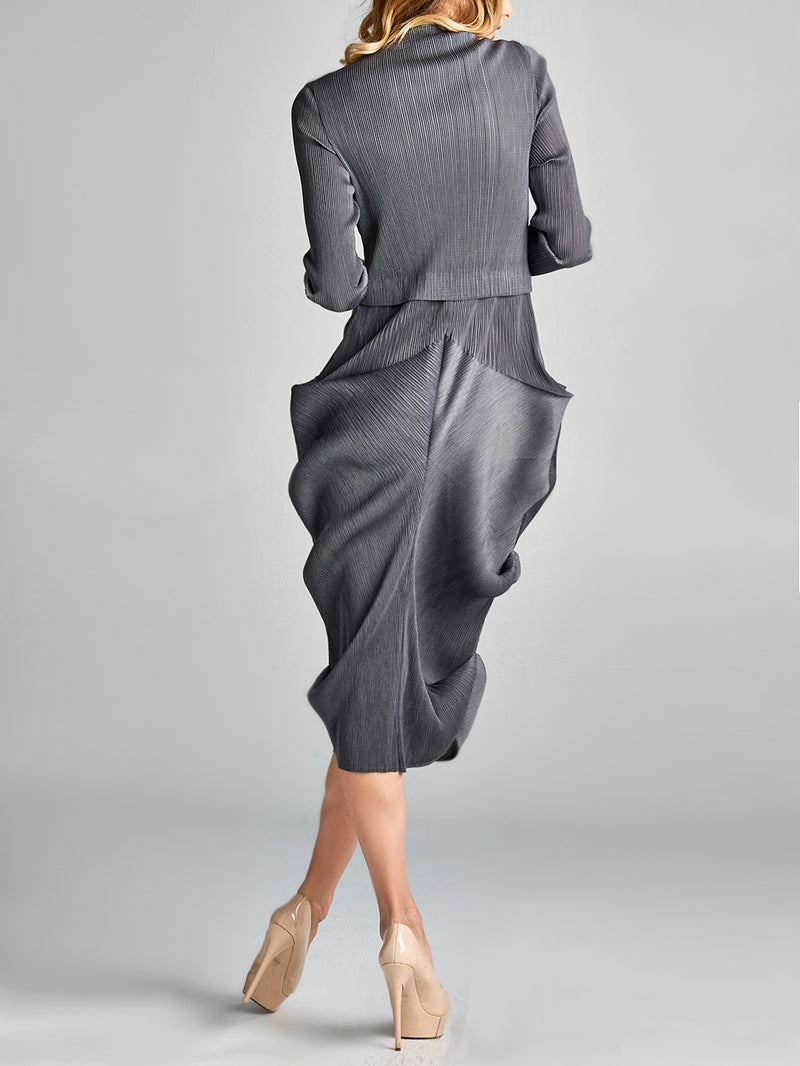 Pleated Grey Puffed Bottom  Dress 1348